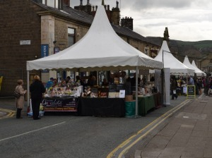 Stalls viewed from the top of Bridge Street before the festival opened.