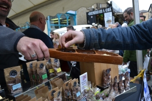 One visitor sampling chocolate from the excellent Choc Amor